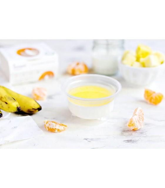 Банановая панна-котта с соусом из мандарина и ананаса