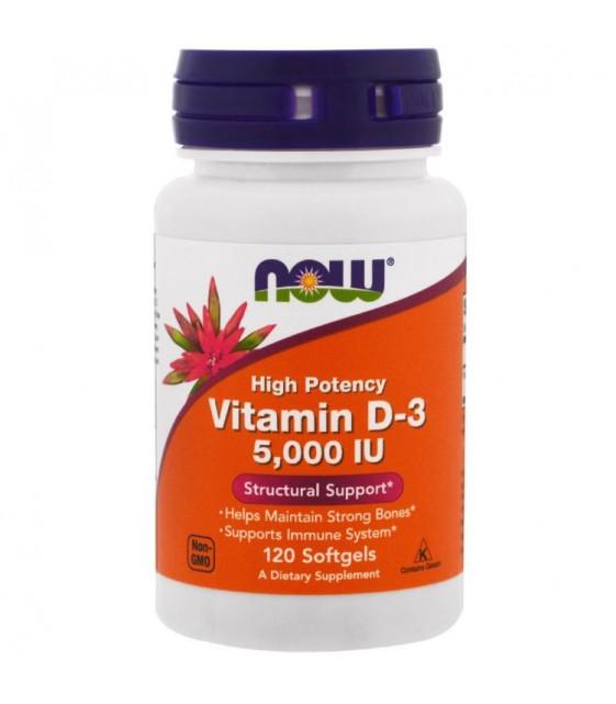 Витамин D-3, 5000 МЕ, 240 капсул, Now