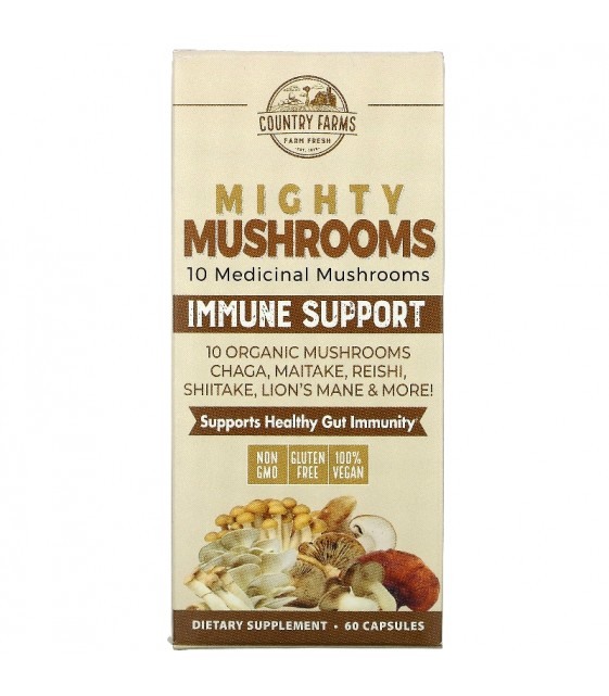 Mighty Mushrooms, Immune Support, 60 caps, Country Farms