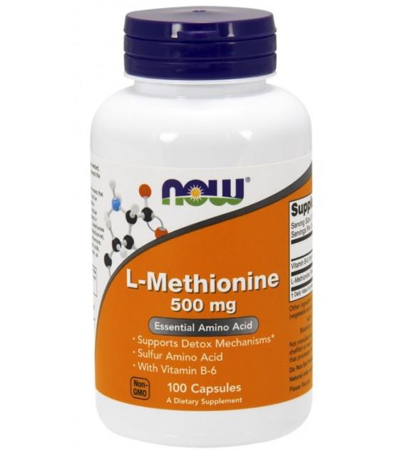 L-Methionine + B6, Метионин 500 мг./100 капс NOW