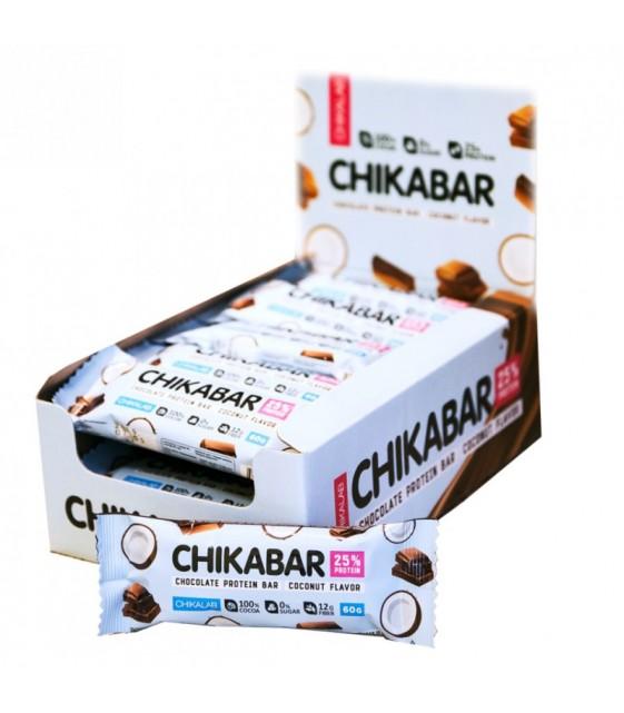 Chikabar Протеиновый батончик в шоколаде 60 гр. Кокос с шоколадной начинкой