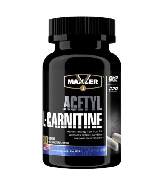 Acetyl L-carnitine, Ацетил Л-карнитин 100 капc Maxler