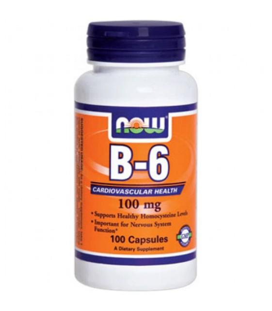 B-6 / Пиридоксин Витамин В-6 , 100 мг, 100 Капс  NOW