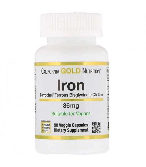Iron, железо (биглицинат), 36 мг, 90 раст. капс. California Gold Nutrition