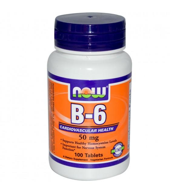 B-6 / Пиридоксин Витамин В-6 , 50 мг, 100 Таб NOW
