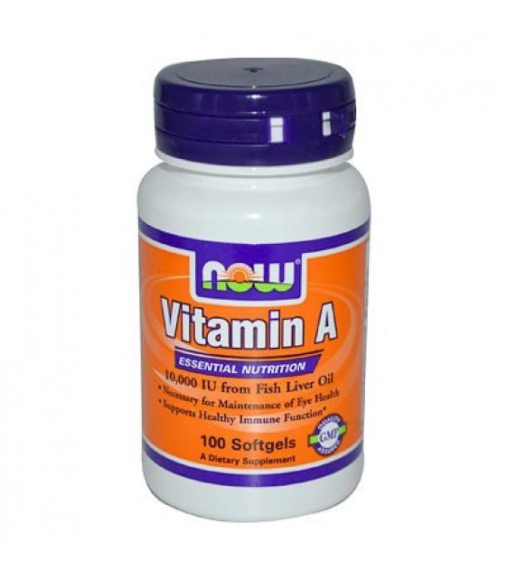 Витамин А 10000 100 гел.кап. NOW