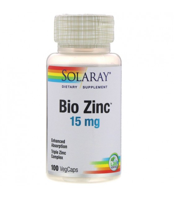 Bio Zinc 15mg 100 vegcaps, Solaray
