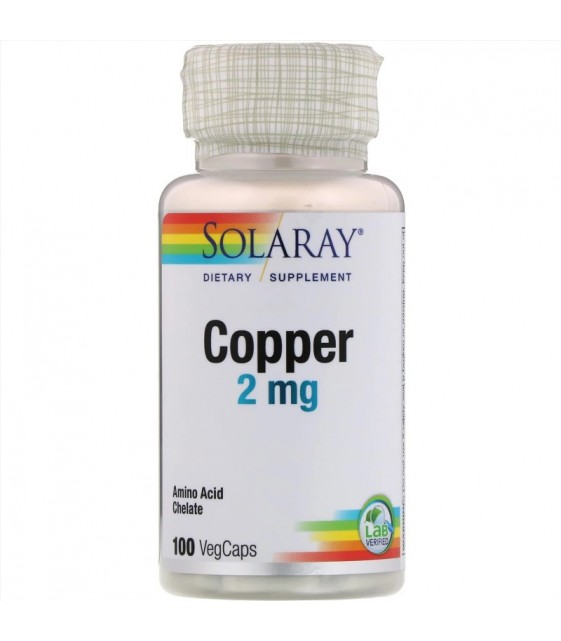 Copper 2 mg, медь 100 vegCaps, Solaray