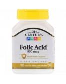 Folic Acid 800 mcg/ Фолиевая кислота 180 easy to swallow tablets, 21st CENTURY