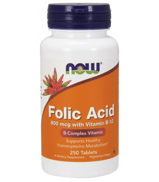 Folic Acid + B-12/ Фолиевая кислота+В12 250 табл. NOW