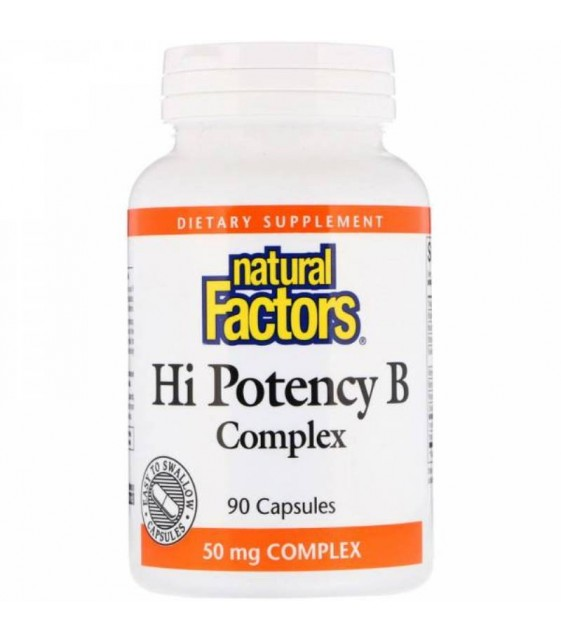 Hi Potency B Complex 50 mg, 90 caps, Natural Factors