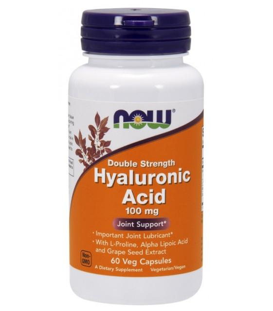 Hyaluronic acid 100 mg Гиалуроновая кислота +пролин, альфа-липовая кислота, экстракт виноградных косточек, 120 капс. NOW