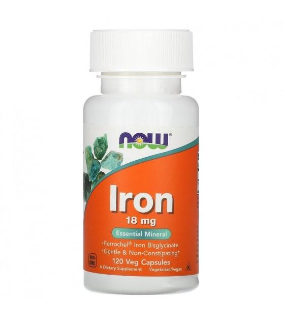 Iron, Железо, 18 mg, 120 veg capsules, NOW