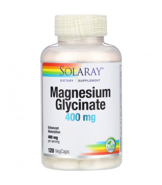 Magnesium Glycinate 400mg, 120 VegCaps, Solaray
