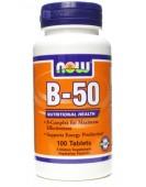 B-50 Complex, Витамины В-50 100 таб, NOW