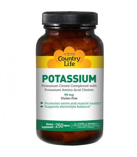 Potassium, Калий, 99 мг, 250 таблеток, Country Life