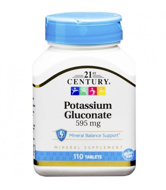 Potassium Gluconate Калий, 595 мг/110 tab. 21st CENTURY