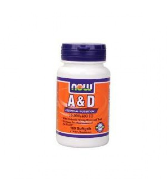 Витамин А и D 10000/400, 100 гел.кап. Now
