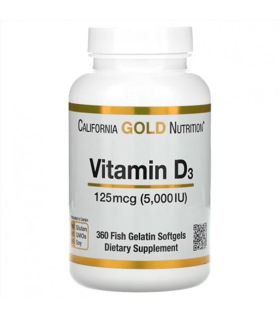 Vitamin D3, Витамин Д3 125mcg, 5000IU 360 fish gelatin softgels, California Gold Nutrition