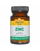 Chelated Zinc 50 мг 100 таблеток, Country Life