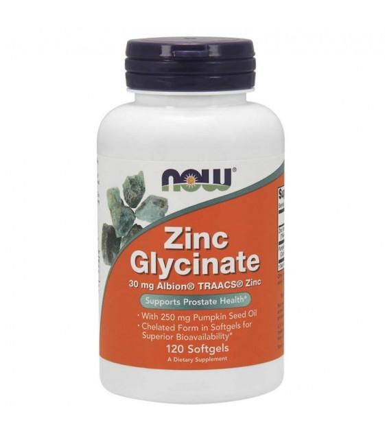 Zinc Glycinate Цинк Глицинат 30 мг, 120 softgels. NOW