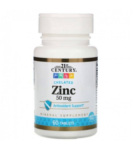 Chelated zinc 50 mg Цинк, 60 табл 21st CENTURY